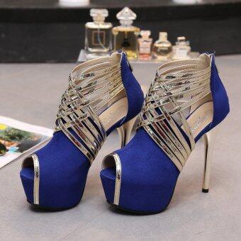 Women's Peep Toe Platform Sandals Japanese Party High Heels with CheckeredBlue - intl