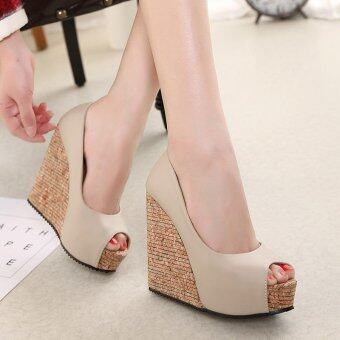 Women's Peep Toe Wedge Shoes Leisure Party High Heels Apricot -intl