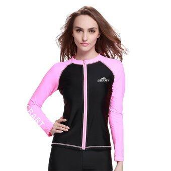 Women's Snorkeling Wetsuit Swim Shirts Tee Tops Skins Long Sleeve Rashguard Surfing Shirt Swimwear – Pink