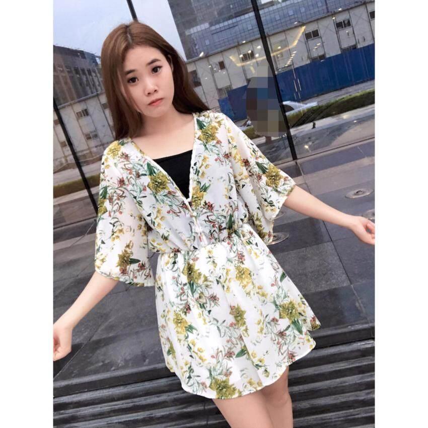 wonderful chiffon Jumpsuits เสื้อสั้นผ้าลายดอกเซ็กซี่สตรีวีคอสั้นมินิเดรสน่ารักเหลือง รุ่น 663(free size)