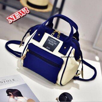 wonderful story 3 in 1 Women Bag Top Handle Bag Women Backpack กระเป๋าสะพายไหล่ กระเป๋าเป้สะพายหลัง(สีน้ำเงิน)