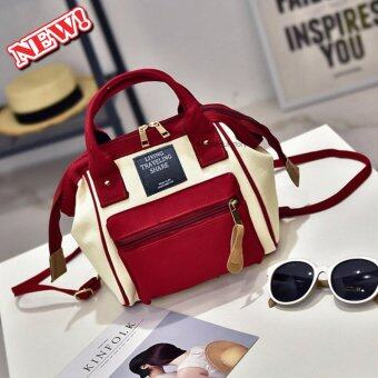 wonderful story 3 in 1 Women Bag Top Handle Bag Women Backpack กระเป๋าสะพายไหล่ กระเป๋าเป้สะพายหลัง(สีแดง )