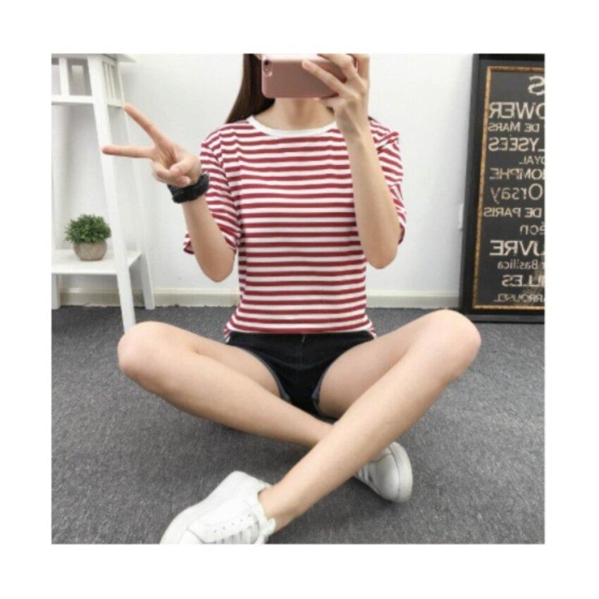 Wonderful Story เสื้อยืดลายริ้ว ขาว/นํ้าเงิน แขนสามส่วน (แดง / ขาว) รุ่น 940