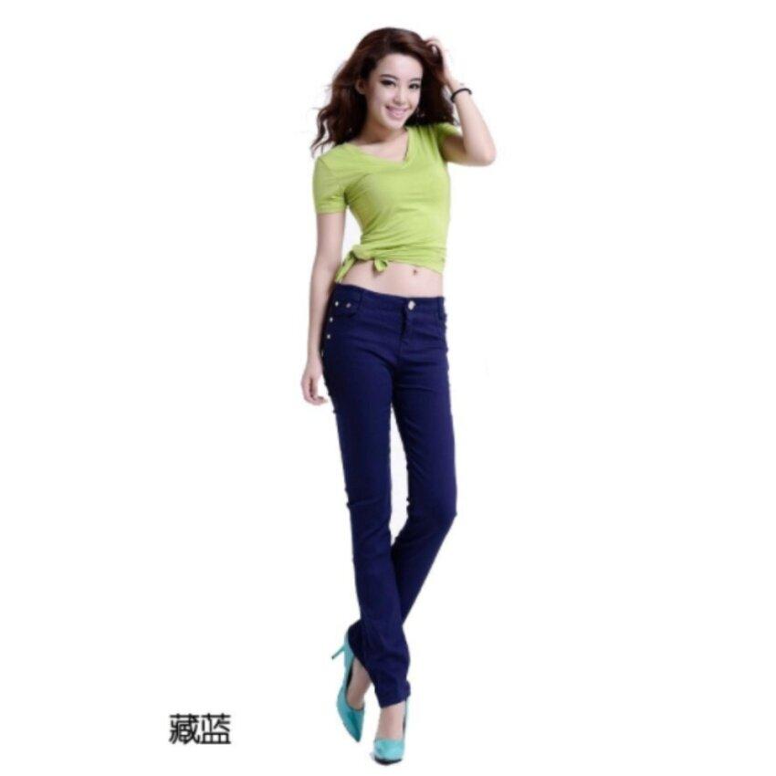 Wonderful Story fashion กางเกงบางแบบบาง (สีน้ำเงิน)