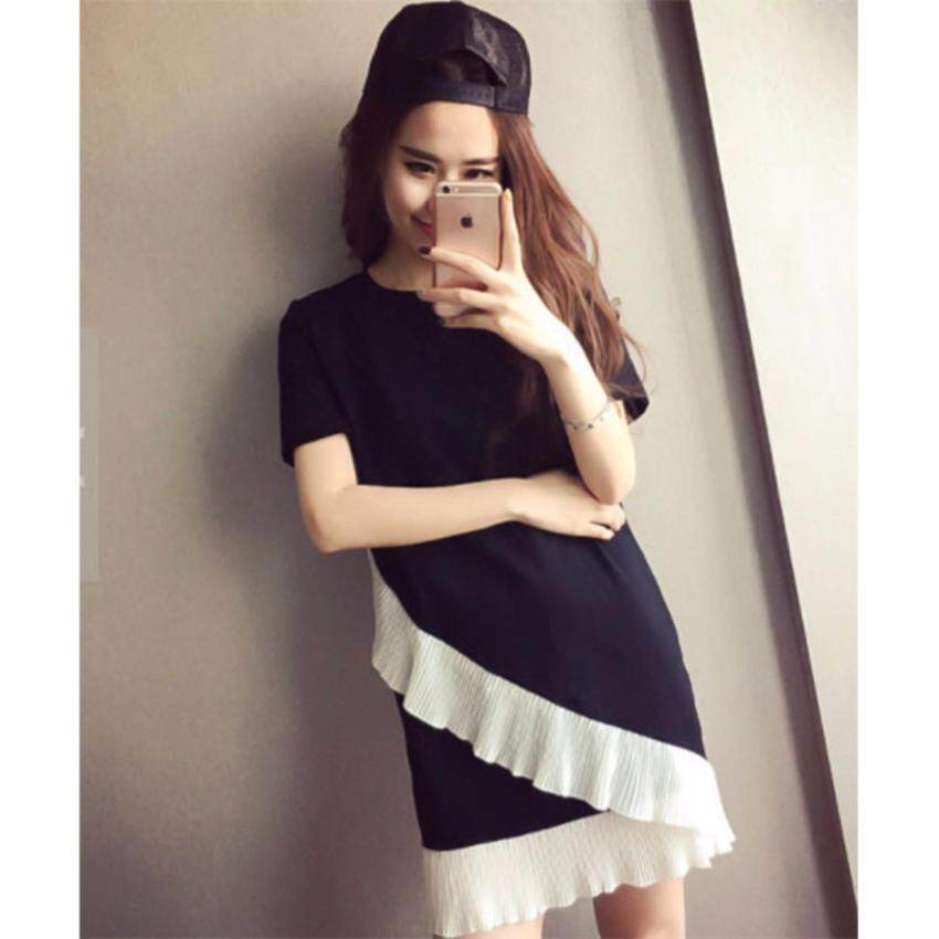 wonderful story T-shirt female lotus leaf stitching women's loose dress female B01(BLACK)