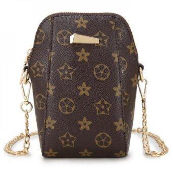 wonderful story กระเป๋าทรงสูง กระเป๋าแฟชั่นสายโซ่ทอง(สีน้ำตาล)รุ่น v04