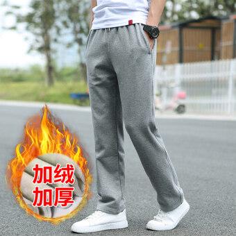 ฤดูใบไม้ร่วงและฤดูหนาวบวกกำมะหยี่วิ่งออกกำลังกายเยาวชน XL Wei กางเกงกีฬากางเกง (6606 สีเทาอ่อน)