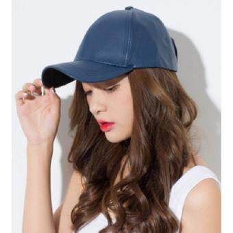 Y and L Support หมวกแก๊ปหนัง PUปรับขนาดได้สีน้ำเงินBaseball –Cap13A- leather-Blue