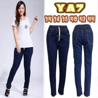 กางเกงยีนส์ขายาวไซส์ใหญ่ เอวยางยืด สีเมจิก บล็อกใหญ่ (ผ้ายืด)รุ่นYA7