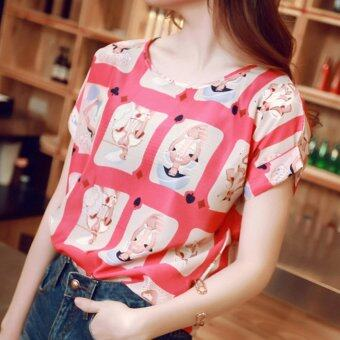 YBC Fashion Women Short Sleeved Chiffon Blouse Loose Shirt