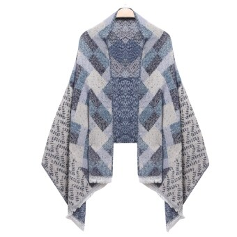 Yika Women Plaid Quilted Shawl Wrap Long Scarf (Blue) - intl
