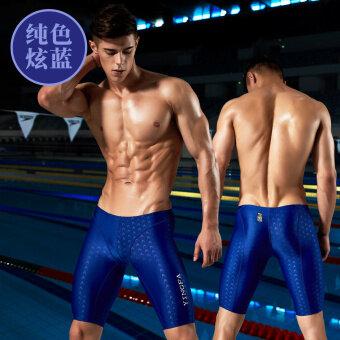 Ying fa กางเกงว่ายน้ำผู้ชาย ยาว 5 ส่วน ไม่ต้านน้ำ กันน้ำ (ฮยอนสีฟ้า) (ฮยอนสีฟ้า)