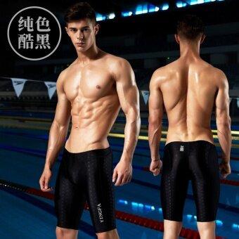Ying fa กางเกงว่ายน้ำผู้ชาย ยาว 5 ส่วน ไม่ต้านน้ำ กันน้ำ (สีดำเย็น) (สีดำเย็น)