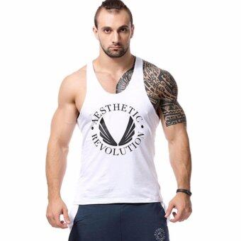 YingWei Men Sports Sleeveless Vest Letter Print Tank Top GymSinglet (White) - intl