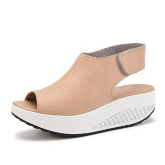 YingWei New Style Fashion Women's Shake Shoes Summer Fish MouthSandals Leather Wedge Shoes Non-slip Platform Shoes with MagicSticker (Beige) - intl