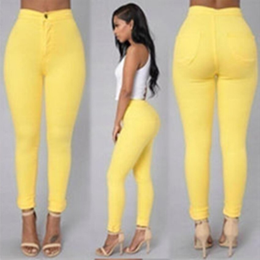 YingWei Women European and American Model Of Tall Waist Leisure Big Yard Stretch Feet Pants (Yellow) - intl
