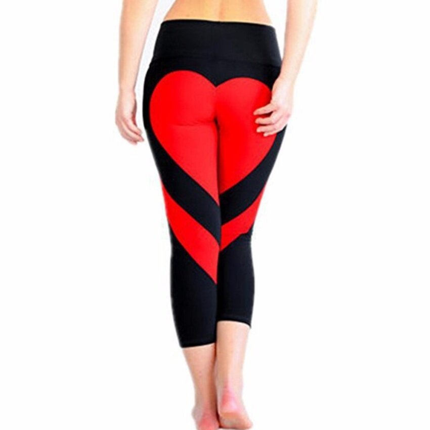 YingWei Women Yoga Running Sport Pants Ladies Heart-shaped Leggings Fitness Trousers(Black,Red) - intl