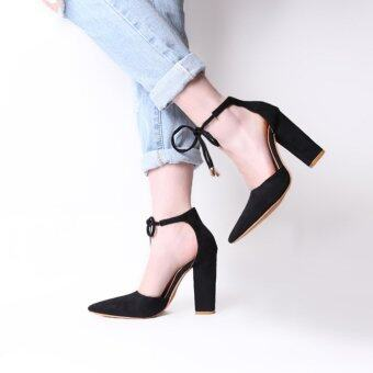 YingWei Women's Summer Fashion Pointed High-heeled Shoes LadyShallow Mouth SuedeThick Heel Sandals(Black) - intl