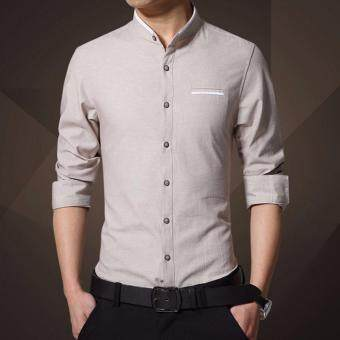 Harga YingWei Young Men Casual Long - sleeved Shirt Men fashion BusinessSlim Shirts Solid Color Top(White) - intl