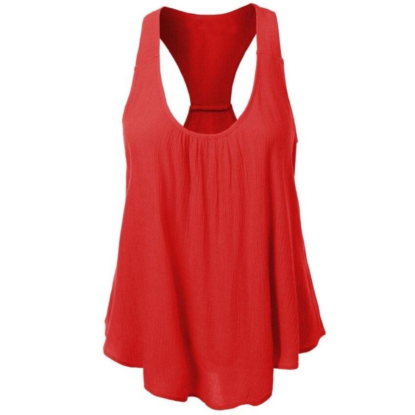 Yohanne Women Apparel Sleeveless Casual Loose Vest T-shirt Tank Top(Red) - intl