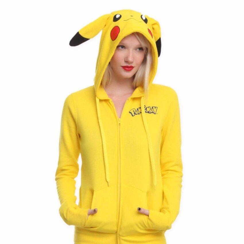 Yohanne Women Pikachu Hoodie Print Long Sleeve Sweatshirt Tops(Yellow) - intl