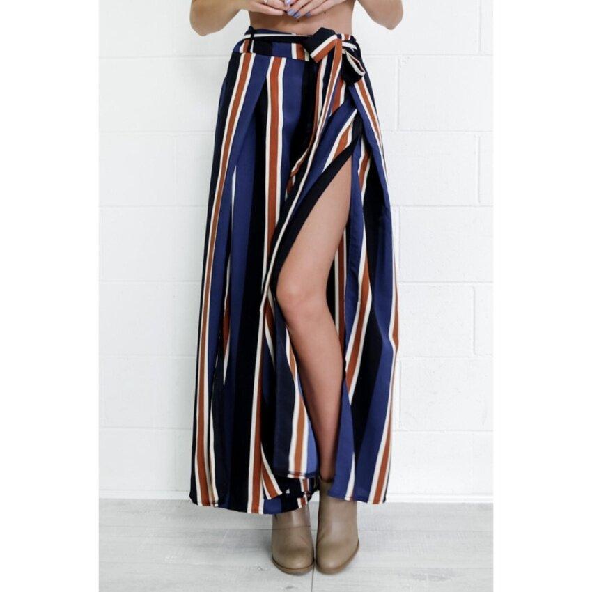 Yohanne Women Sexy Stripe Wide Leg Pants Loose Pants Side of Open(Stripe) - intl