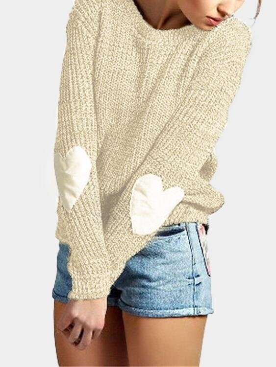 Yoins Women New High Fashion Clothing Casual Round Neck Long Sleeves Love Patchwork Yellow Sweater Top - intl