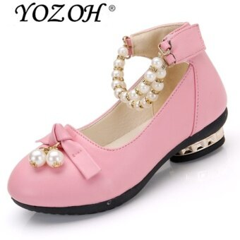 Harga YOZOH Fashion Girl's Lovely Princess Style Leather Shoes Girl HighHeel Shoes Dance Dress Girl Sandals-Pink - intl