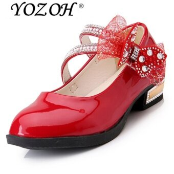 Harga YOZOH Fashion Girl's Lovely Princess Style Leather Shoes Girl HighHeel Shoes Dance Dress Girl Sandals-Red - intl