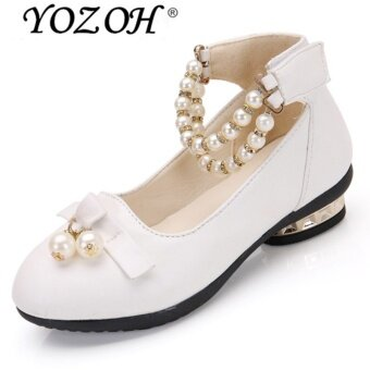 Harga YOZOH Fashion Girl's Lovely Princess Style Leather Shoes Girl HighHeel Shoes Dance Dress Girl Sandals-White - intl