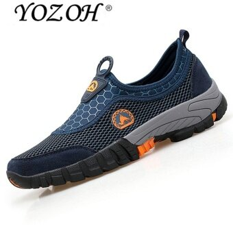 Harga YOZOH Men Formal Shoes British Style Casual Shoes Mesh Flat ShoesSports Shoes-Dark blue - intl