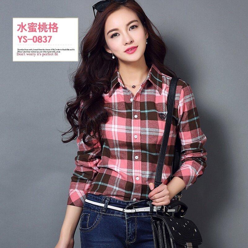 ขาย เกาหลีหญิงแขนยาวของฤดูใบไม้ผลิและฤดูใบไม้ร่วงเสื้อผ้าฝ้ายลายสก๊อตเสื้อ (YS-0837)