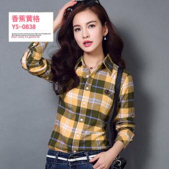 เกาหลีหญิงแขนยาวของฤดูใบไม้ผลิและฤดูใบไม้ร่วงเสื้อผ้าฝ้ายลายสก๊อตเสื้อ (YS-0838)