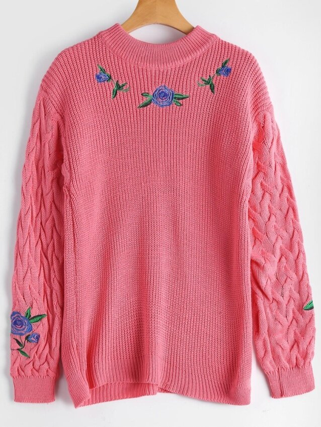 ZAFUL Flower Embroidered Cable Knit Sweater( Pink) - intl