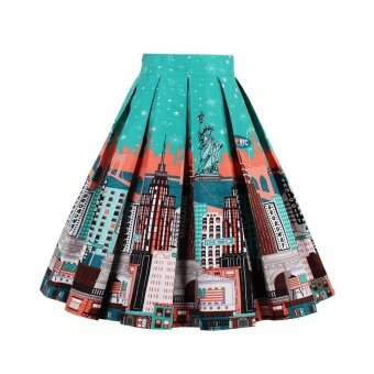 Harga ZAFUL Pleated Skirts Womens Summer Swing Skirt Mountain Gorgeous Print Vintage Floral Midi Vintage Plus Size Skirt - intl