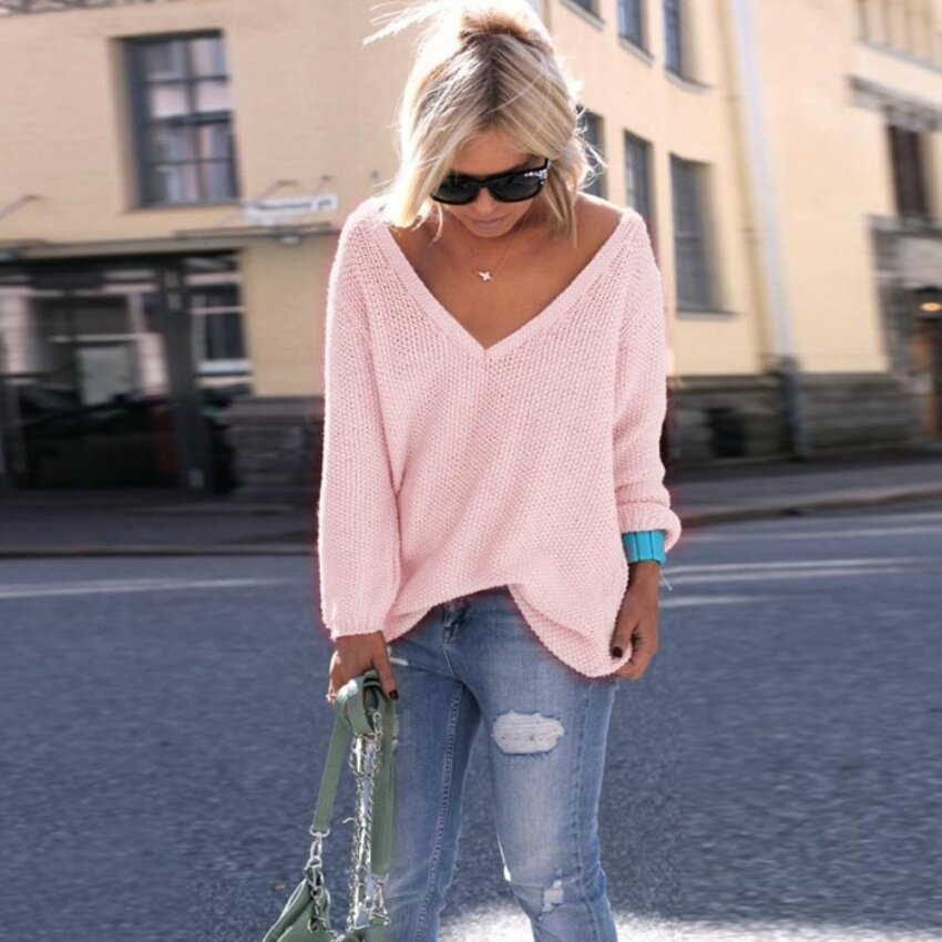 ZAFUL Woman Pullover Ladies Sweater Casual Sexy Style V-Neck Long Raglan Sleeve Knitted Long Sweater - intl