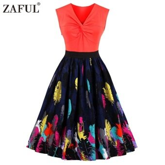 Zaful Woman Vintage Prom Dress Feather Print Patchwork Dress V Neck Sleeveless Plus Size Party Dress - intl