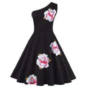 Harga Zaful Women Elegant Floral Embroidery Dress Vintage Sexy ObliqueOne Shoulder Cute - intl