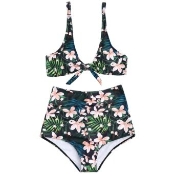 Harga ZAFUL WomensTropical Floral High Waisted Tied Bathing Suit(Green ) - intl