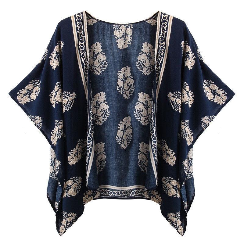 Zanzea สตรีเสื้อคลุมคาร์ดิแกนเบลเซอร์ลายเรโทรสีน้ำเงิน