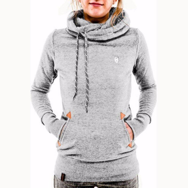ZANZEA Autumn Winter Hoodies Sweatshirts Women Casual Female Long Sleeve Hem Split Hoody Pullovers Outwear Tops Plus Size (Grey) - intl
