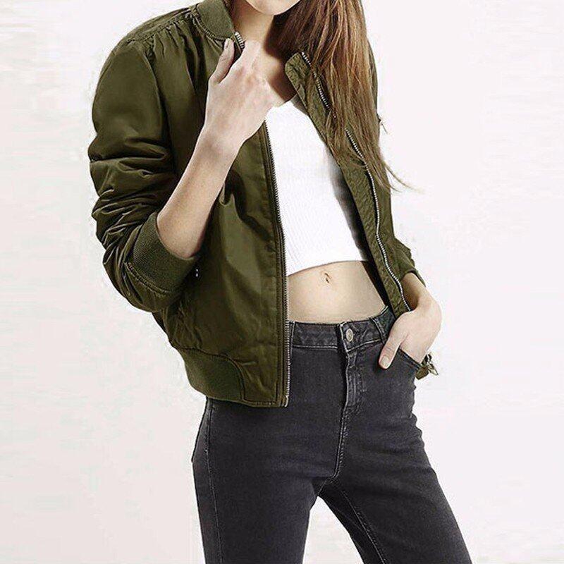 ZANZEA European Style Womens Retro Long Sleeve Coat Plus Size Chaquetas New O-Neck Short Zipper Slim Bomber Casual Jackets (ArmyGreen) - intl