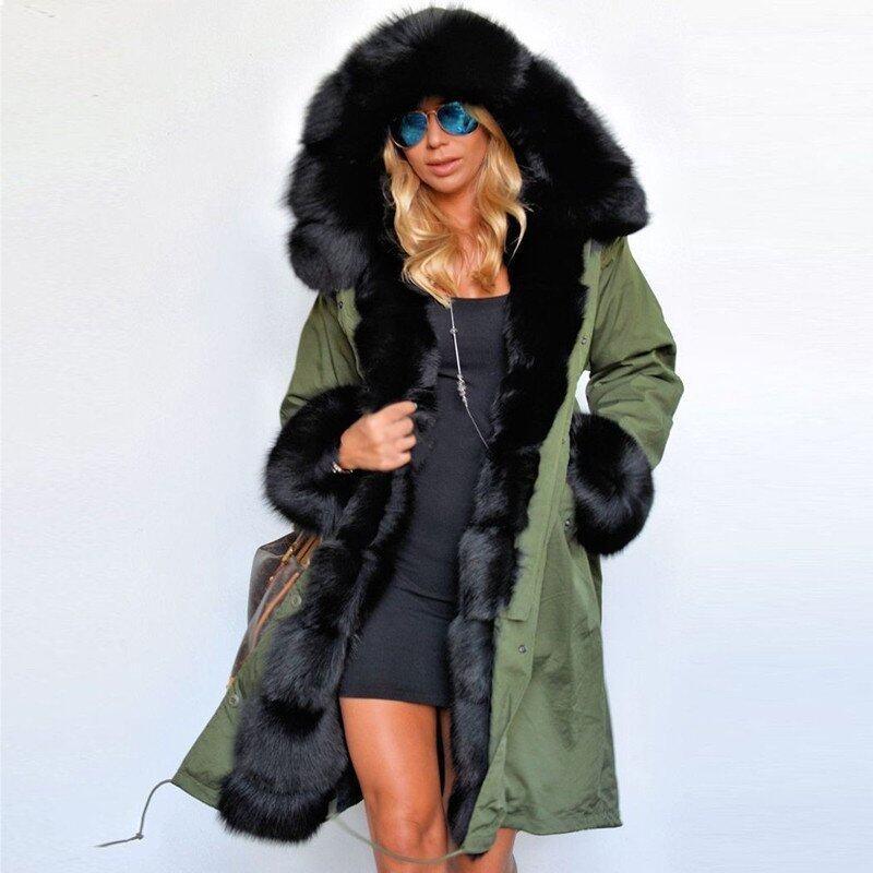 ZANZEA Fashion Women Winter Warm Fuax Fur Collar Hoodies Long Jacket Outwear Parka Coat (Army Green) - intl