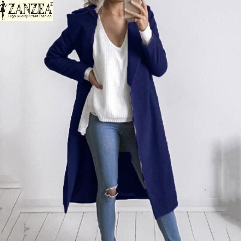 ZANZEA Fashion Women's Stylish Long Sleeves Open Casual Coat Winter Jackets (Navy) - intl