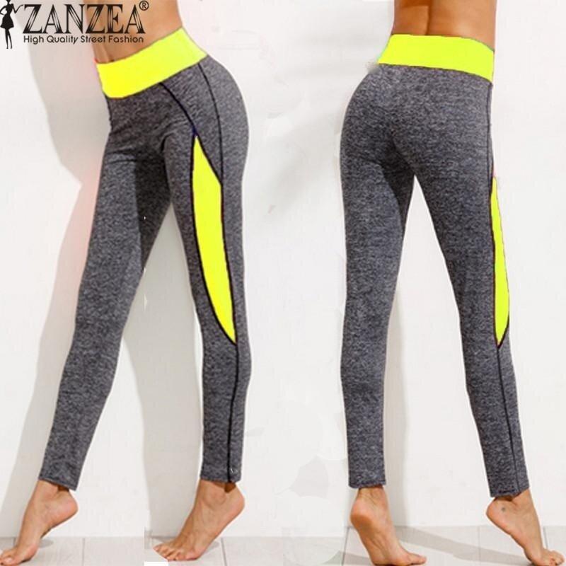 ZANZEA High Waist Women Lady Activewear Legging Winter Slim Skinny Elastic Running Pant Leggings Workout Trousers (Yellow) - intl