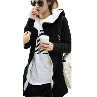 ZANZEA สตรีขนแกะเสื้อแขนยาว Hooded Hoodie เสื้อ SweaterOutwear Sweatshirt Black-สนามบินนานาชาติ