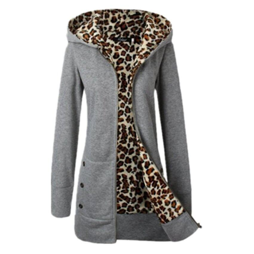 ขาย ZANZEA New Euroepan Style Women Fashion Long Sleeve Zipper Hooded Winter Warm Coat Female Leopard Fleece Jacket Outerwear Light Grey - intl