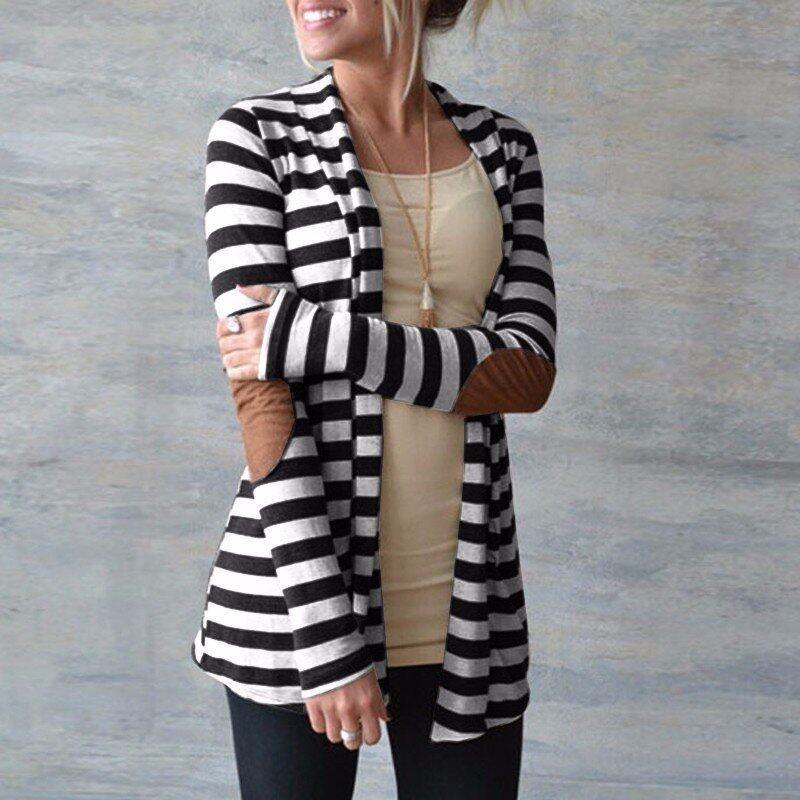 ZANZEA Oversized Fashion Women Autumn Striped Cotton Outwear Lady Long Sleeve Patch work Slim Thin Cardigan Knitted Sweater - intl