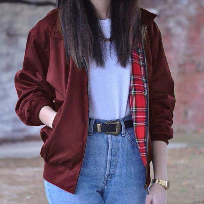 ZANZEA Oversized Women Autumn Outerwear Long Sleeve Fashion Vintage Tartan Zipper Pockets Bomber Jacket Casual Coat Plus Size(Wine Red) - intl
