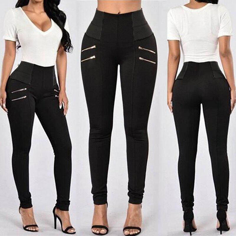 ขาย ZANZEA Plus Size Women High Waist Casual Splice Ladies Skinny Pants Trousers Leggings (Black) - intl